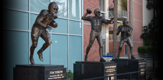 Heisman sculpture installation in Gainesville, FL