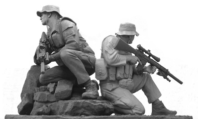 Memorial sculpture of two Navy SEALs